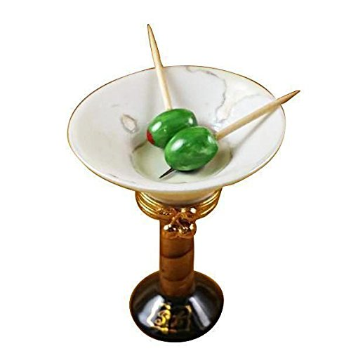 MARTINI GLASS WITH OLIVES - LIMOGES PORCELAIN FIGURINE BOXES AUTHENTIC IMPORTS by French Limoges Boxes Boutique