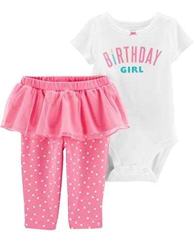 Carter's Baby Girls' 2-Piece Birthday Girl Bodysuit and Tutu Pant Set (Pink/White Birthday, 12 Months) ()