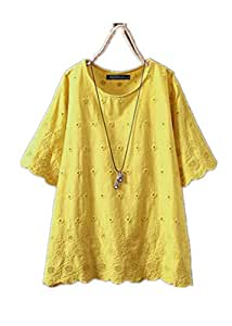 TT WARE Women Short Sleeve Lace Patchwork Hollow Blouse-Yellow-18