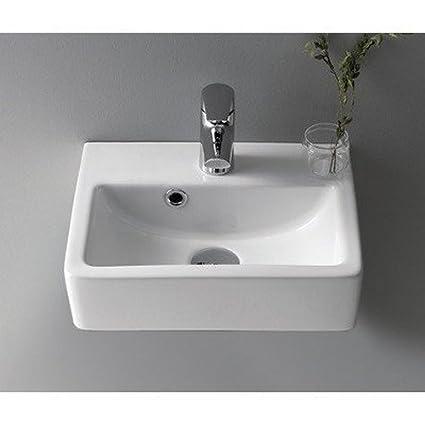 CeraStyle 001400 U One Hole Mini Rectangle Ceramic Wall Mounted/Vessel Sink,