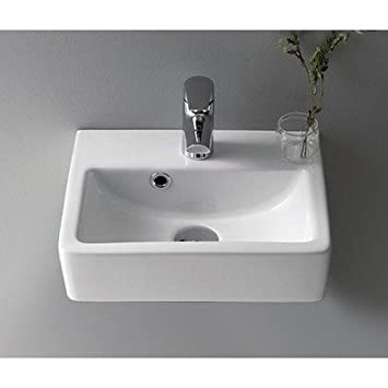 CeraStyle 001400 U One Hole Mini Rectangle Ceramic Wall Mounted/Vessel Sink,