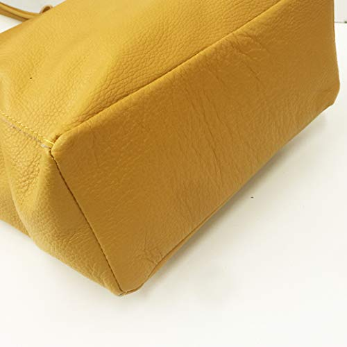 Borsa Pelle Vivo Rust Spalla Shopper Vera Made In 100 Bags Donna Italy Taglio Giallo A 4Bqqw5W1