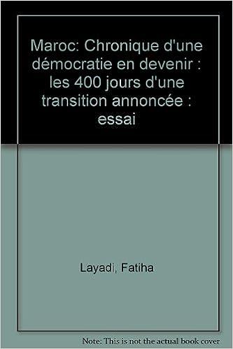 Maroc, chronique d'une democratie en devenir pdf