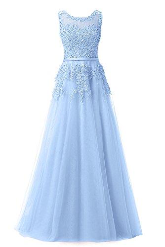 Jugendweihe Linie mit Prinzess Kleider mia Himmel Damen Blau Navy Ballkleider Promkleider A Abendkleider Braut Spitze Rock Blau Langes Perlen La 8q6wa