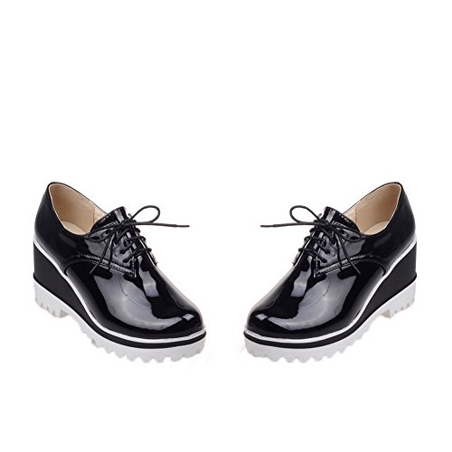 Odomolor Women's Solid Patent Leather High-Heels Round-Toe Lace-up Pumps-Shoes, Black, 39