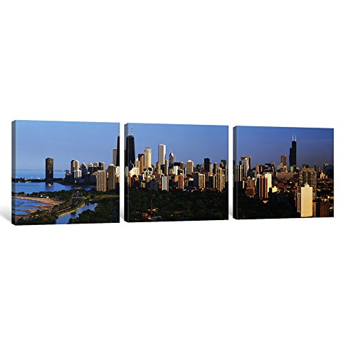 iCanvasART 3 Piece Buildings in a City, View of Hancock Building and Sears Tower, Lincoln Park, Lake Michigan, Chicago, Cook County, Illinois, USA Canvas Print by Panoramic Images, 0.75 by 36 by 12-Inch