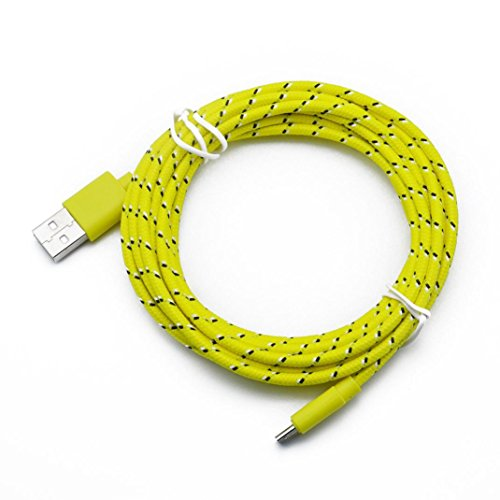 USB Cable for Android System Cell Phone ,Sunfei 1M/2M/3M Hemp Rope Micro USB Charger Sync Data Cable Cord (1M, Yellow)