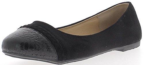 Scarpe tacco nero di grandi dimensioni di 0,5 cm arrotondati punta bi materiale