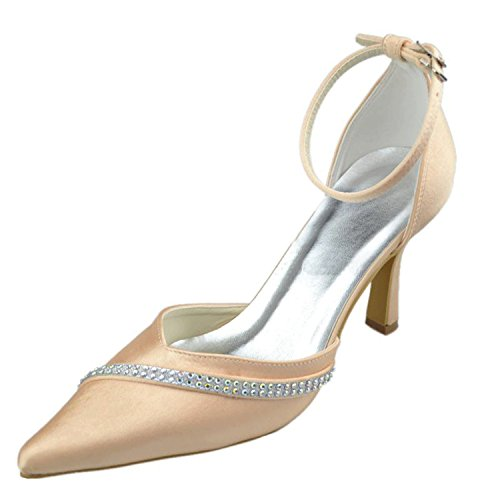 Wedding Evening Fashion Womens Formal Ankle Party Champagne Shoes Kevin Bridal Strap Pumps Prom Satin qUYwcnxSW