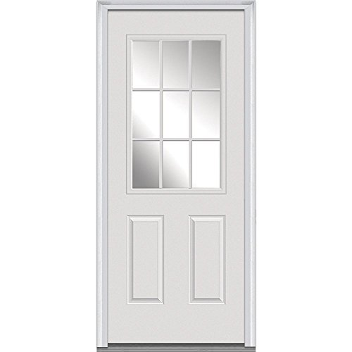 National Door Company Z000289R Fiberglass Smooth Primed Right Hand In-swing Prehung Front Door 9 Lite 2-Panel Clear Low-E Glass 34 x 80