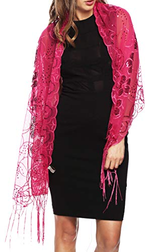 Apparelism Women's Mesh Sequin Metallic Party Prom Wedding Shawl Scarf with Fringe. (4880-Fuchsia)