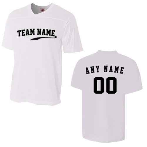 Adult White 3X CUSTOM (Front and/or Back) Moisture Wicking V-Neck Football Jersey by A4 Sportswear