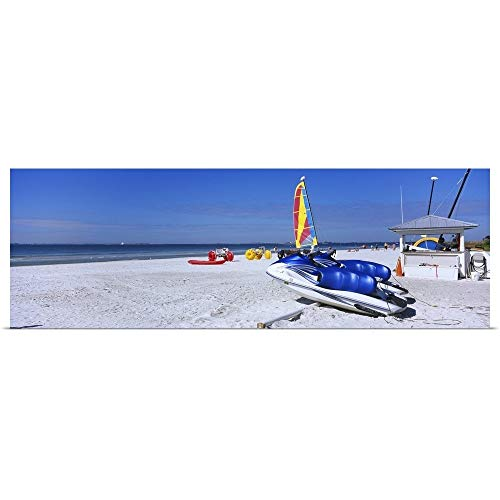 GREATBIGCANVAS Poster Print Entitled Two Jet Boats and a Windsurfing Board on The Beach, Fort Myers Beach, Bowditch Point Regional Park, Gulf of Mexico, Florida by ()