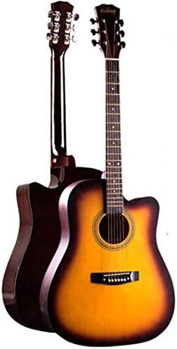 アコースティックギター 初心者ギターの学生の一般的な練習フォークアコースティックギター 小学生 大人用 ギター初級 (色 : E, Size : 41 inches)