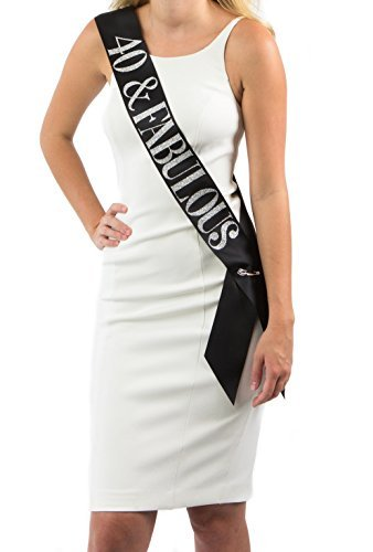 Dulcet Downtown Black Satin 40 & Fabulous Birthday Sash w/ Silver Glitter encased in Letters - 40th Birthday Party Supplies