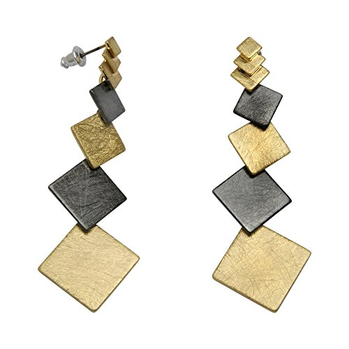 Takobia Women's Gold Flashed & Hematite Plated Multi Square Drop Design - .925 Sterling Silver Post Earrings (Design Square Sterling Silver)