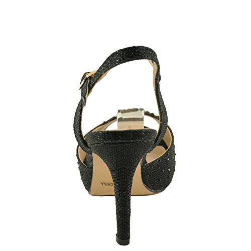 Blossom Robin 90A Womens Embellished Platform Sandals Black KDGvb5