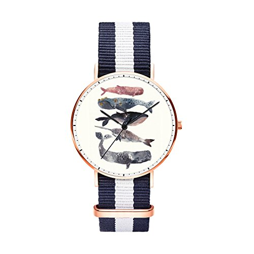 SunbirdsEast Whales Watch Nylon Band for Men 40mm Analog Quartz Wrist Rose Gold Unisex Stainless Steel Children Nylon Multi-Color Striped Band Watch -