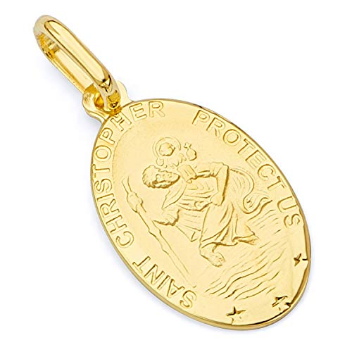 14k Yellow Gold Religious Saint Christopher Medal Charm Pendant (18 x 11 mm) ()