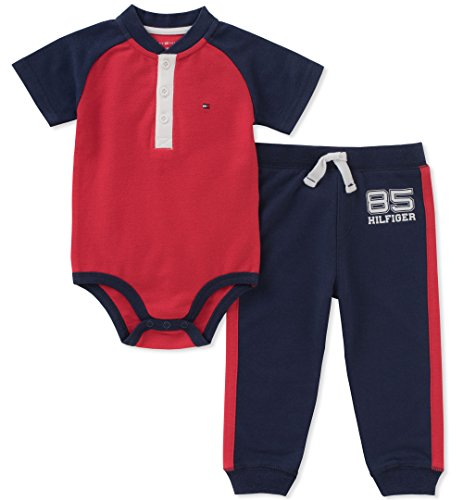 Tommy Hilfiger 2 Piece - Tommy Hilfiger Baby Boys 2 Pieces Creeper Pants Set, Red/Navy, 3-6 Months