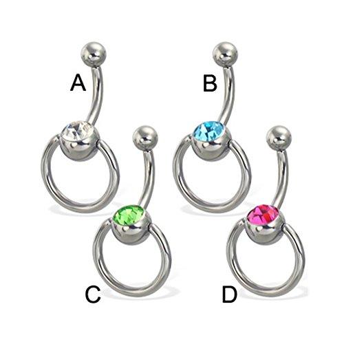 Jeweled Door Knocker Belly Ring, 12 Ga,Color:Pink - D