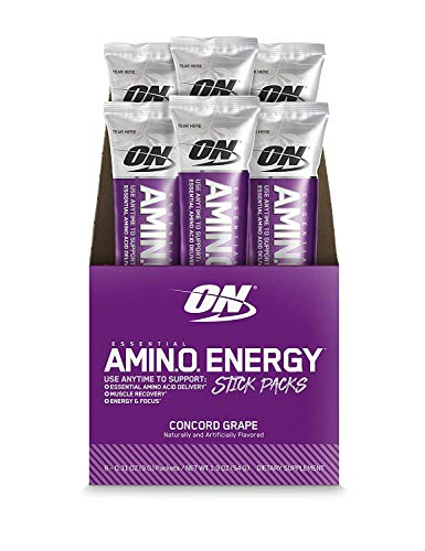 OPTIMUM NUTRITION ESSENTIAL AMINO ENERGY Individual Packs, Concord Grape, Keto Friendly BCAAs, Preworkout and Essential Amino Acids with Green Tea and Green Coffee Extract, 6 Count Stick Packs
