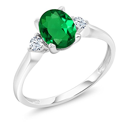 Emerald 10k Ring - 10K White Gold 1.10 Ct Simulated Emerald White Created Sapphire 3-Stone Ring (Size 8)