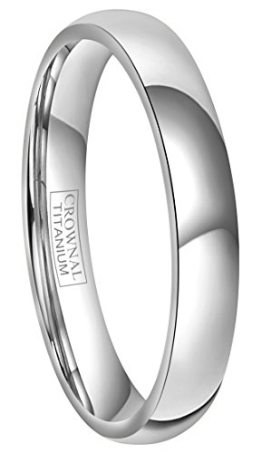Crownal 4mm/6mm/8mm Titanium Wedding Couple Bands Rings Men Women Dome Polished Comfort Fit Size 4 To 16 (4mm,7.5)