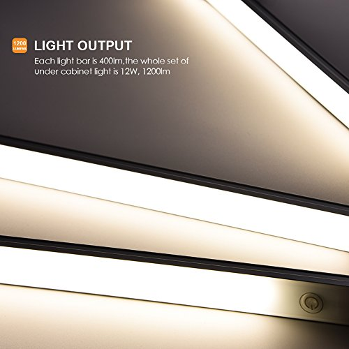 LED Under Cabinet Lighting Touch Control, Dimmable Under Counter Light Strips for Kitchen Closet, Shelf, 3pc Light Bars Kit, 12W 1200 Lumen, 4000K Nature White by YOUTHINK (Image #2)