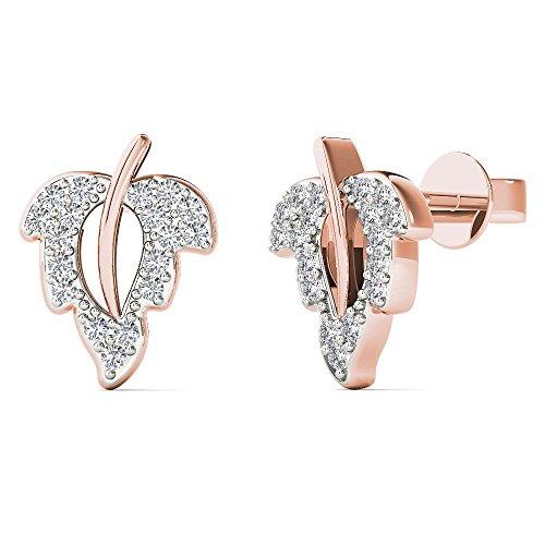 0K Rose Gold 1/8 Carat TDW Diamond Leaf Stud Earrings (H-I, I1-I2) (Tdw Diamond Leaf Ring)