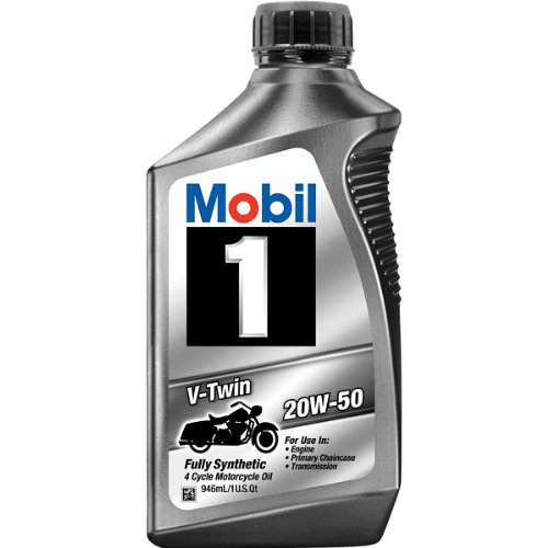 PACK OF 4 - Mobil 1 20W-50 Full Synthetic Motorcycle Oil, 1 qt.