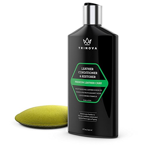 TriNova Leather Conditioner and Restorer with Water Repellent Formula, 8 oz (Leather Couch Protectant)