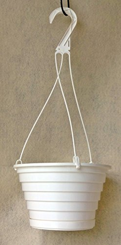- PJ's Plants and Things LOT of 10 White Plastic 8 Inch Hanging Baskets W Attached Drip Saucer