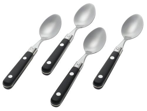 Flatware Demitasse Spoon - Ginkgo International Le Prix Stainless Steel Demitasse Spoons, Black, Set of 4