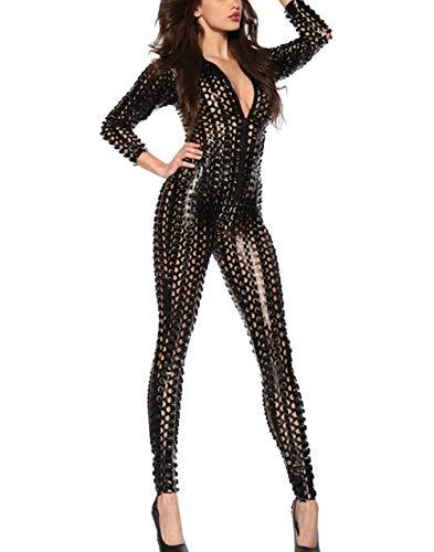 Women Catsuit Costume Zipper Front Hollow Shiny Romper Suit One Piece Sexy Bodysuit Metallic Jumpsuit Clubwear Black M]()