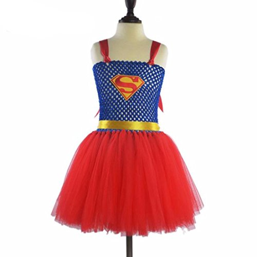Halloween Superhero Girl Tutu Dress Kids Costume - Wonder Woman or Bat Women or Super (Batwomen Costume)
