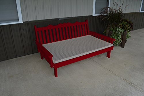 75 Inch Pine Indoor or Outdoor Royal English Daybed Amish Made- Tractor Red Paint ()