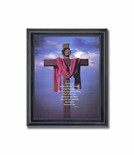 (Cross Sash Crown of Thorns John 3:16 Religious Wall Picture Framed Art Print)
