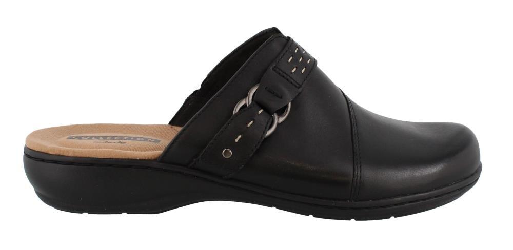 CLARKS Women's Leisa Sadie Mule, Black Leather, 10 W US