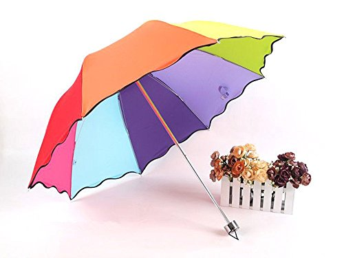 Katoot Hot Seller 8 clolor Petty Cabin Anti-UV Sun Triple Folding Rainbow Advertising Travel UV Protected Parasol Umbrella (Sunny Rainbow Nylon Umbrella Parasols)
