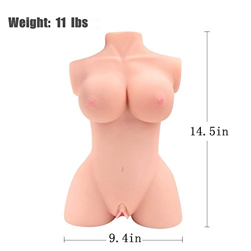 White Skin Straight Leg Torso 5D Doll Silicone Solid Man Love Doll 11 Pounds (Double Packing, Privacy Express Box)
