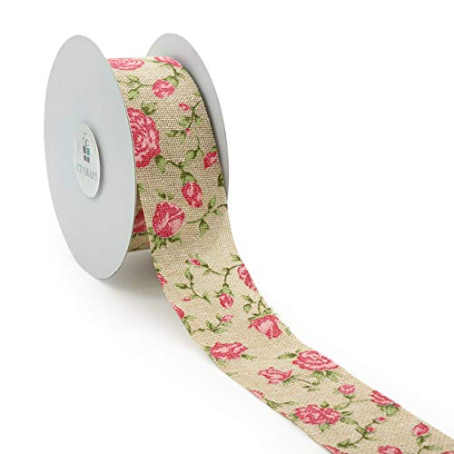 CT CRAFT LLC Floral Canvas Cut Edge Ribbon with Spring Pink Rose Flower- 33 mm x 10 Yards - Natural, Pink, Beige ()