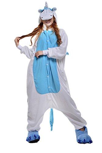 NEWCOSPLAY Animal Pajama Unisex-Adult Kigurumi One-Piece Cosplay Onesies (XL, Blue Unicorn) ()