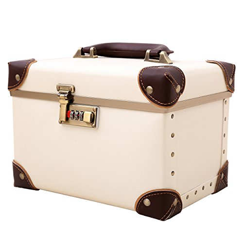 Portable Makeup Train Case Double Layer Cosmetic Bags Leather Toiletry Case for Women Ivory White 15