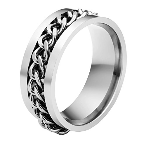 Jovivi Custom Band Rings - Personalized Engraved Name Message 8mm Chain Design Stainless Steel Spinner Rings Mens & Womens Wedding Bands Size 11.5