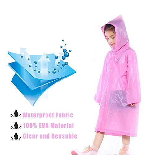 Segorts Kids' Emergency Portable Rain Ponchos(2 Pack) - Thicker EVA Rainwear with Drawstring Hood & Sleeve Ends for Travel Camping (Pink) by Segorts (Image #1)