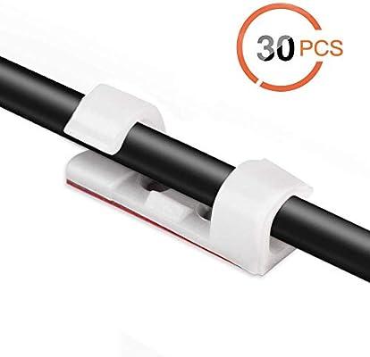 AGPTEK 30x Organizador de Cables con Tornillos y Adhesivo, Clips ...