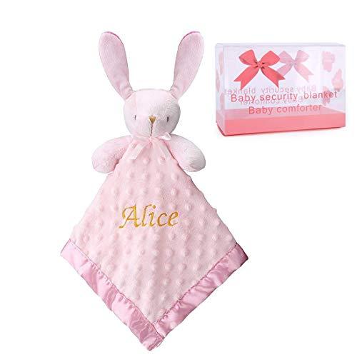 Pro Goleem Personalized Bunny Baby Lovey Stuffed Plush Lovie/Security Blanket for Girls Customized Minky Dot Blankie Best Gift for Newborn/Infant/Toddler (15'', Custom) ()