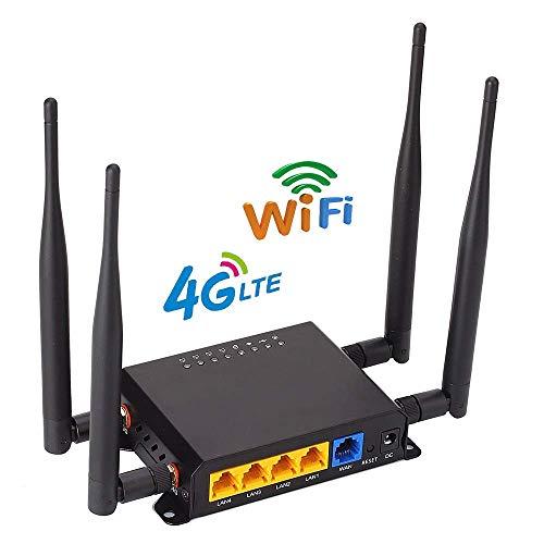 4G WiFi Router 300Mbps CAT6 3G/4G Wireless Router for SIM Card Slot External Antenna Router Extended Signal Range with USB Port 4pcs 5dbi Antenna (B2/B4/B5/B7/B12/B13/B25/B26/B29/B30/B66 US Version)