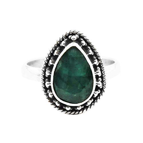 Sivalya AURORA Raw Emerald Ring Sterling Silver Gift Packaging Included Size 7 Natural Green Gemstone Solitaire Rings for Women
